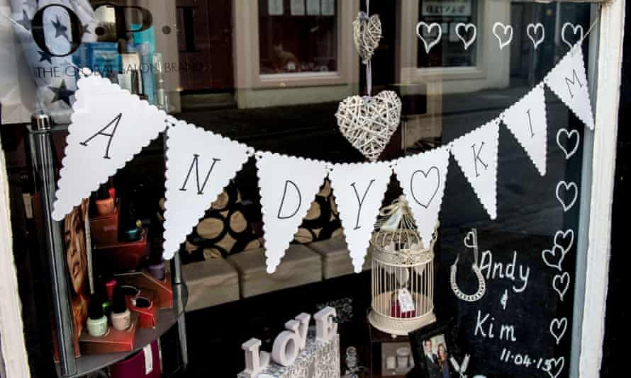 Many Dunblane shopkeepers have decorated their windows in anticipation of the wedding.
