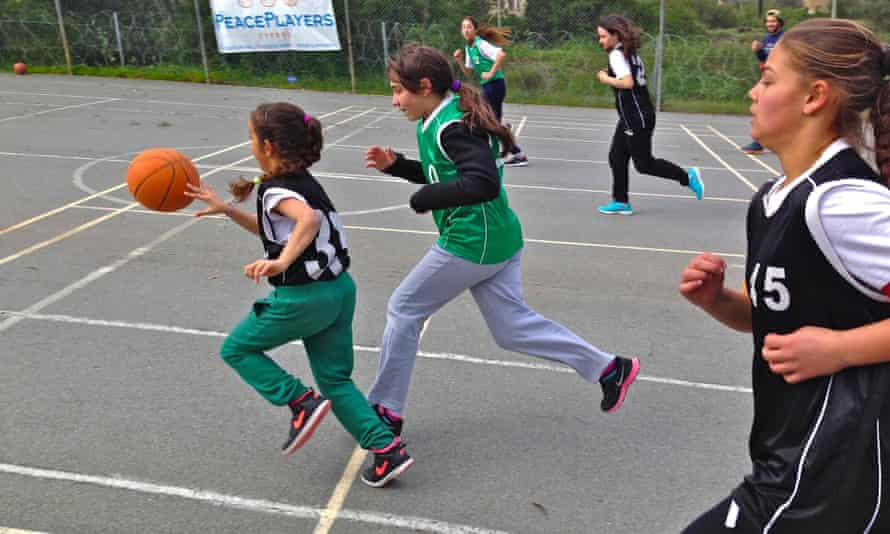 A mixed Turkish Cypriot and Greek Cypriot basketball match