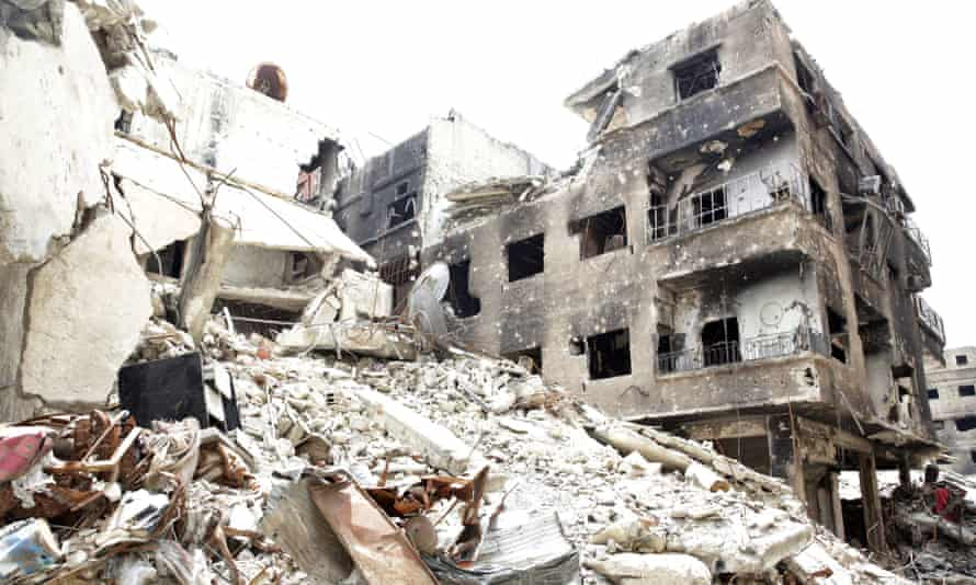 Destroyed buildings in the Yarmouk refugee area of Damascus, Syria.