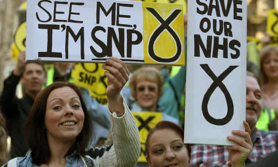 SNP supporters in Stirling as the party leader, Nicola Sturgeon, arrives on the campaign trail.
