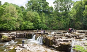 The Upper Falls on the river Ure at Aysgarth, North Yorkshire.