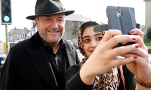 George Galloway has retained significant support in Bradford, particularly among the Muslim community of Manningham, where this young woman took a selfie with him as he campaigned