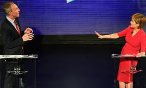 Scottish Labour leader Jim Murphy and SNP leader Nicola Sturgeon during the Scottish Television debate at the Assembly Rooms on 7 April  2015 in Edinburgh.