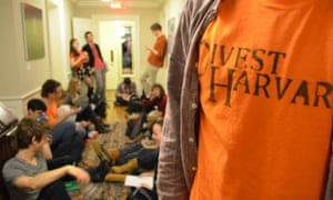 Harvard students sit in for fossil fuel divestment in February.