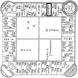 Lizzy Magie's original board design for the Landlord's Game, which she patented in 1903
