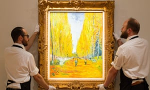L'allée des Alyscamps by Vincent van Gogh is unveiled at Sotheby's in London on Friday.