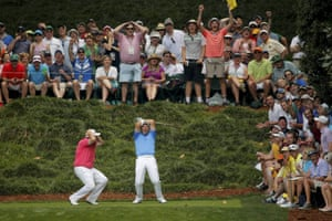 Padraig Harrington of Ireland reacts after missing a hole-in-one on the ninth tee with countryman Shane Lowry during the par 3 event held ahead of the 2015 Masters in Augusta, Georgia
