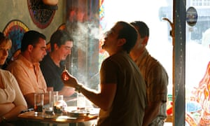 Cannabis smokers in a Dutch coffee shop