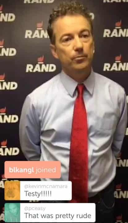 Screenshot with comments from the Rand Paul interview.