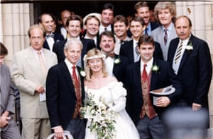 1992 David Gower And Wife Thorrun Nash after their wedding at Winchester Cathedral.