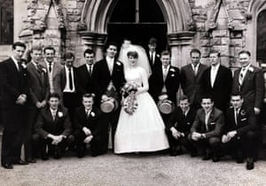 1961 Tottenham Hotspur's Maurice Norman and his wife Jacqueline pose with his team-mates after their wedding at Northaw Church, near Potters Bar, Herts. Back row, L-R: Brown, Ryden, Marchi, Blanchflower, Smith, Bride and Groom, White, Medwin, Hollowbread, Baker, Manager Bill Nicholson, Front row L-R: Hopkins, Dyson, Jones, Mackay, Henry