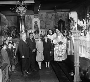 1929 Babe Ruth weds Claire Hodgson. Left to right, George Henry Lovell, Babe Ruth - Swat King; Claire Hodgson - his bride, former stage star; Mrs. Lovell and the Rev. William F. Hughes who united Babe and his bride in marriage at St. Gregory's church, New York State at 6 am in the morning