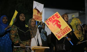 Maldivians protest for the release of ex-president Mohamed Nasheed.