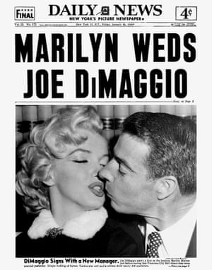 1954 Fifteen years later and Joe DiMaggio kisses his new bride Marilyn Monroe just before leaving San Francisco City Hall where they were married. The simple wedding of former Yankee star and movie actress drew nearly 400 spectators
