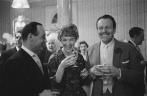 1958 World speed record breaker Donald Campbell and his wife, singer Tonia Bern, share a joke with Terry Thomas during their wedding reception at Caxton Hall, London