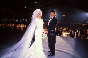1989 Diego Maradona and Claudia Villafane on stage at their wedding reception in front of 1200 guests at the mythical Buenos Aires Indoor sports and concerts arena, Luna Park.