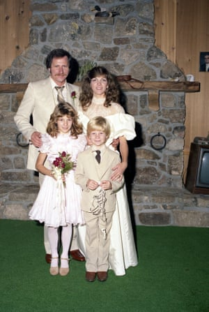 1982 Dale and Teresa Earnhardt pose with Dale Jr. and Kelly Earnhardt before their wedding in Mooresville, North Carolina