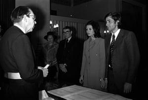 1972 Tennis star Ilie Nastase marries Dominique Grazia in a Brussel's registry office
