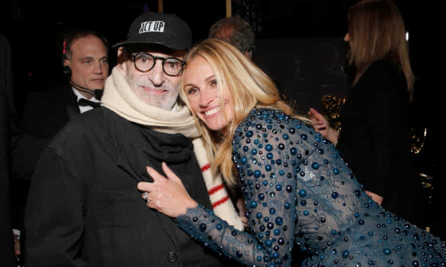 Larry Kramer with film star Julia Roberts backstage at the Emmy awards last year.