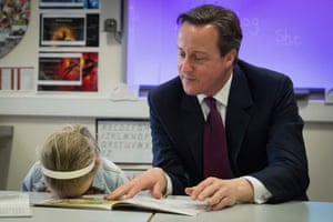 Having been asked to read with British prime minister David Cameron, six-year-old Lucy Howarth has a 'head/desk' moment  at the Sacred Heart Roman Catholic Primary School in Westhoughton