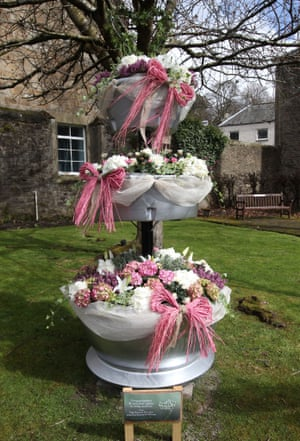 Wellwishers in Dunblane leave a floral display