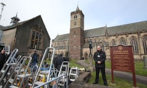 Media ladders placed outside Dunblane Cathedral
