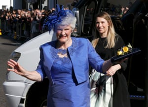 Andy Murray's grandmother Shirley Erskine waves to the waiting photographers