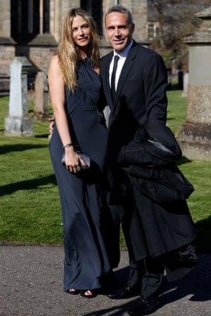 Tennis player Alex Corretja arrives with model Martina Klein