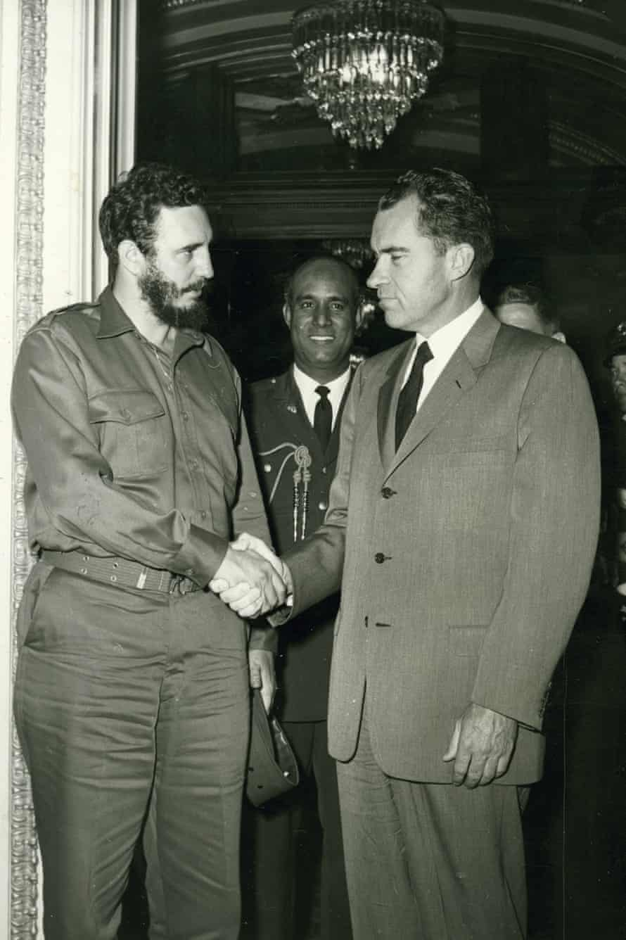 President Fidel Castro shakes hands with then US vice-president Richard Nixon in Washington on 21 April 1959, during a visit to the US soon after the Cuban revolution.