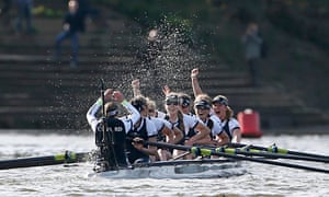 Oxford's women's crew celebrate their boat race victory.