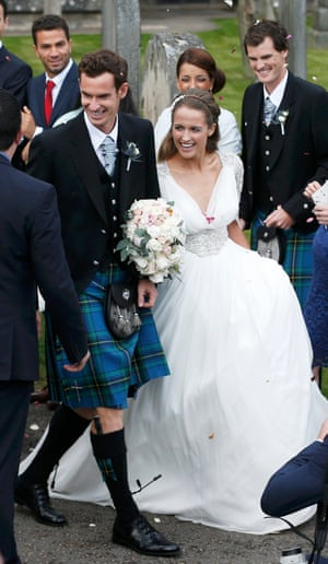The couple leave the cathedral after the service