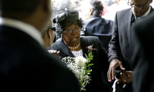 Judy Scott at the funeral of her son, Walter Scott, on Saturday 11 April 2015. Scott was killed by North Charleston police officer Michael Slager, who has been charged with murder.