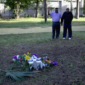 A memorial at the site where Walter Scott was shot.