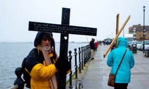Christians in West Kirby, Wirral, gather for their annual Good Friday pilgrimage at the Marine lake.