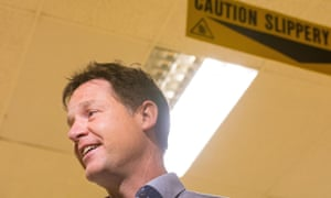 Liberal Democrat leader, Nick Clegg, on the campaign trail in Essex on Sunday.