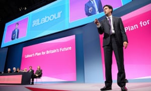 Ed Miliband at the 2014 conference; Labour's manifesto is published on Monday.