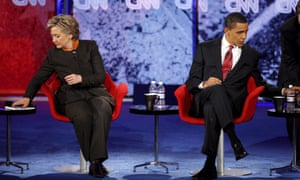 Hillary Clinton and Barack Obama during a presidential debate in 2008.