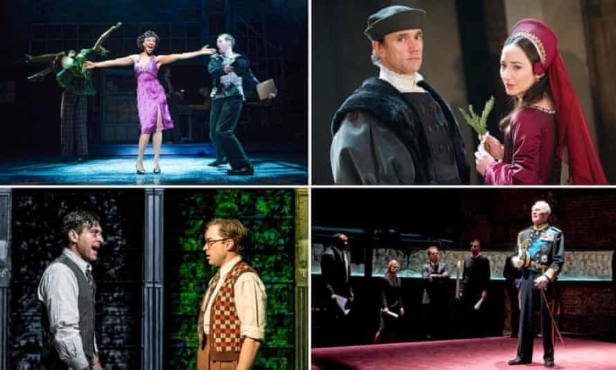 Clockwise from top left: Memphis: The Musical, Wolf Hall, King Charles III and City of Angels