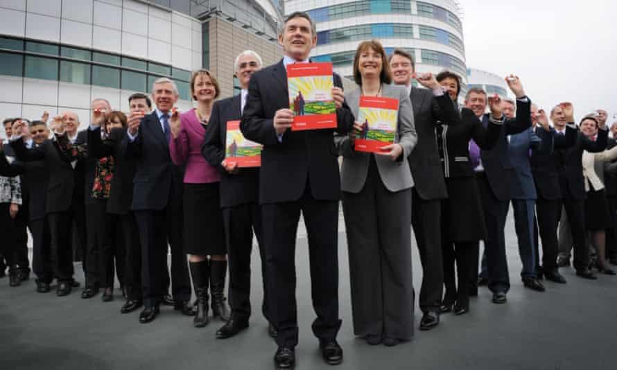 Gordon Brown shows off Labour's 2010  election manifesto in Birmingham.