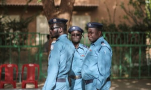 Sudanese security forces at a polling station on the first day of presidential and legislative elections.