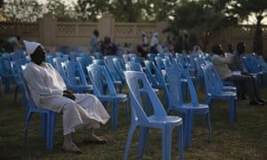 Members of Sudanese opposition parties take part during a sit-in at the headquarters of Umma, one of Sudan's biggest opposition parties.