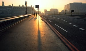 Westminster Bridge at sunrise.