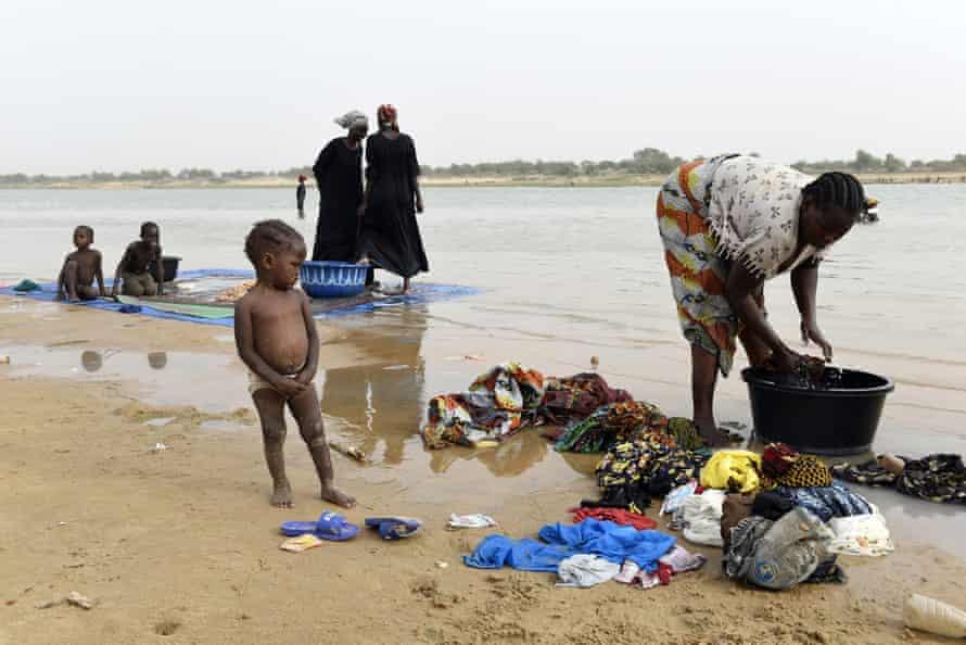 Women wash clothes in the Chari River near N'Djamena.