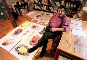 Grass with some of his drawings at his his home in Behlendorf, 1999