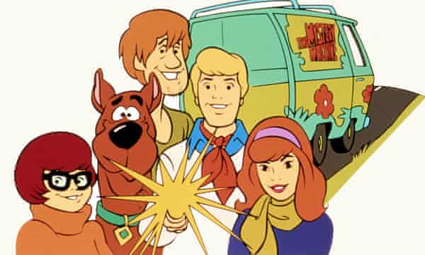 Scooby Doo and the gang with their van.