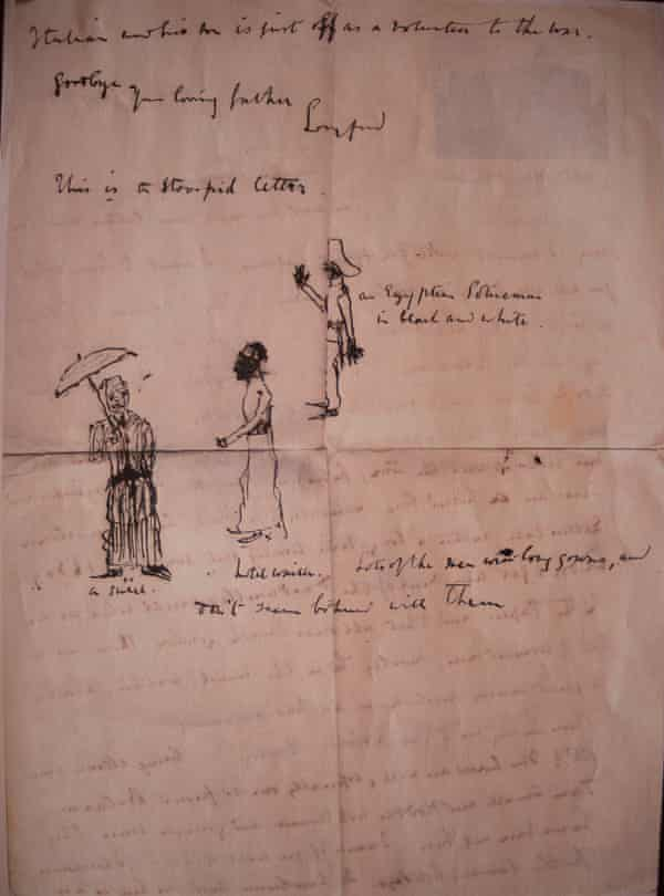 Rachel Billington One of Tom's letters from Egypt, with drawings for the children, signed 'Goodbye, Your loving father, Longford'