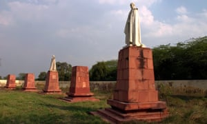 Statues of King George V and other imperial notables and viceroys at the Coronation Park near Delhi, India