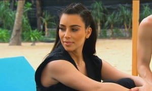 Kim Kardashian with braids on holiday.