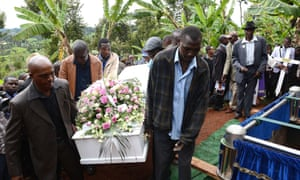 The funeral of Anjela Nyokabi, who was killed during the attack on Garissa University, in her home village of Kiambu on 10 April 2015.