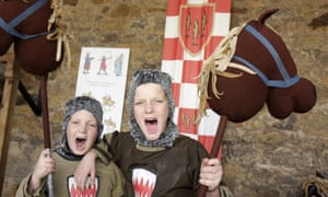 Dressing up as medieval knights at Alnwick Castle.